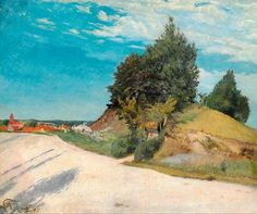 Laurits Andersen Ring (1854-1933): Dusty road near a hill with poplars. In the background red roofs and a church, 1895