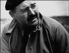 Teruel, Sapin. US writer and journalist Ernest Hemingway visiting the front line by Robert Capa, (December-1937)