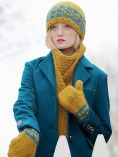 Faux Fair Isle Set Knitting Pattern: Scarf, Hat and Mittens