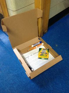 SUPER easy summer learning kit:  go to a pizzeria and ask them to donate medium pizza boxes, then fill them with learning activities and writing utensils!  Parents love these!