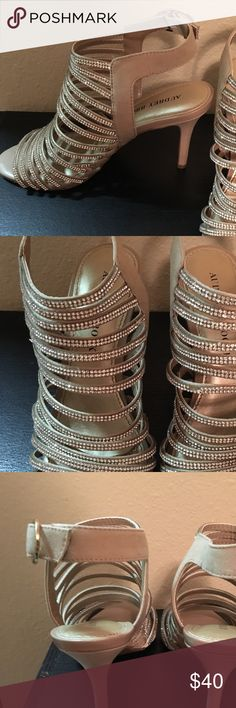 Nude high heels Audrey Brooke size 7 women's sparkly strapped 3 inch high heels. Wore one time to a wedding and they've been sitting in my closet untouched and unworn ever since. In excellent condition. Audrey Brooke Shoes Heels