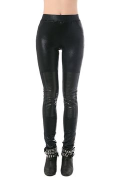 Legging in black sparkle with biker styling