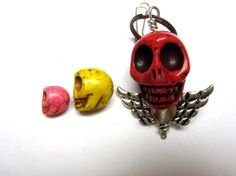 Sugar Skull Keychain Day Of The Dead Key Ring by sweetie2sweetie, $8.99