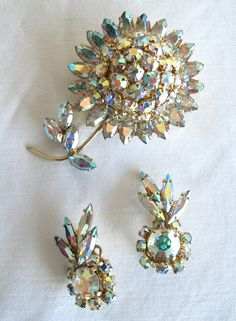 Sherman Aurora Borealis Flower Pin & Earrings