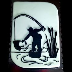 Fisherman cake                                                       … Fishing Theme Cake, Fishing Cakes, Fisherman Cake, Pond Cake, Cupcake Cakes, Cupcakes, Retirement Cakes, Father Birthday, Cakes For Men