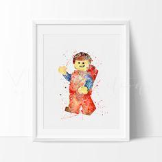Lego Man Nursery Art Print Wall Decor