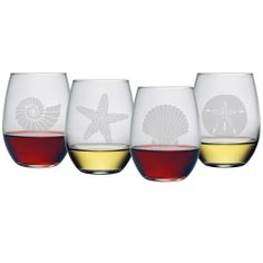 Seashore Collection Stemless Wine Glasses (Set of 4) | Overstock.com Shopping - The Best Deals on Wine Glasses