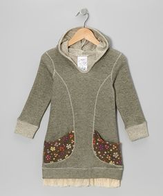 Olive Floral Pocket Hoodie Dress - Toddler & Girls | Daily deals for moms, babies and kids