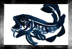 """Visit my ExcitementAdventure shop at etsy dot com for this giclee print of an indigo blue watercolor fish! You choose the size! All orders must be under 17"""" inches in height or width. I can customize any size for your frame, so long as it is under 17"""" inches. All work is printed on archival paper with inkjet. (Frame not included.) Thank you so very much for taking an interest in my work. I look forward to bringing you more paintings, drawings, and three-dimensional work in the future!"""
