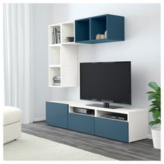 IKEA - BESTÅ / EKET TV storage combination white, dark blue