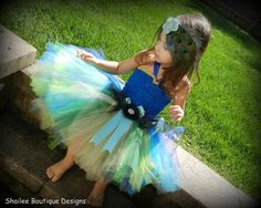 Peacock tutu dress and headband 2PC set / by ShaileeBoutique