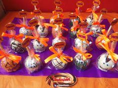 manzanas chocolate decoradas para fiesta infantil