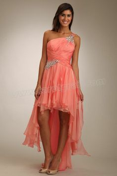 Backless One Shoudler Beading Coral Prom Dress