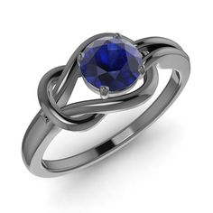 0.57 Ct Natural AA/AAA Blue Sapphire 14k Black Gold Infinity Knot Solitaire Ring #Diamondere #Solitaire