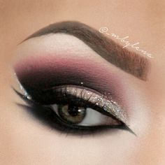Plum glitter smokey eye #eyes #eye #makeup #bold #dark #smokey #dramatic