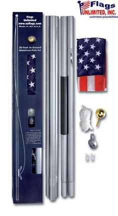 Valley Forge In-Ground United States Flag Kit, containing Aluminum Flag Pole, x Nylon United States Flag With Sewn Stripes & Embroidered Stars, and Hardware Pole For Home, House Flag Pole, Flag Poles, Valley Forge, Flags, United States, Hardware, Stripes, Kit