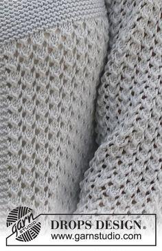"""Giacchino DROPS a maglia legaccio e con motivo a pizzo, lavorato dall'alto verso il basso in """"Cotton Light"""". Taglie: dalla S alla XXXL ~ DROPS Design"""