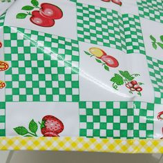 Green Gingham Oilcloth Tablecloth   Outdoor Tablecloths   RetroPlanet.com #oilcloth #retro #kitchen #tablecloth  Did anyone else have one of these growing up? It's so easy to clean!