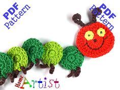 Caterpillar Crochet Applique Pattern  This is an -INSTANT DOWNLOAD- pattern of a…