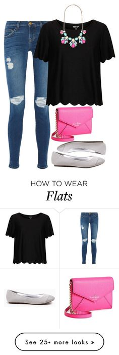 """Pops of pink"" by meljordrum on Polyvore featuring Current/Elliott, Kate Spade, Topshop and Forever New"