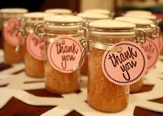 sugar or salt scrubs for shower gifts... i love this idea! diy and cheap.
