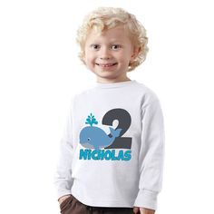 Personalized 2 years old Birthday Nautical Whale by shirtsbynany, $14.99