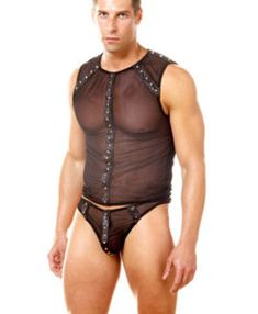 New black mesh mens and gays studded vest set clothing male stripper fancy dress stag do size s/m Gay Costume, Fashion Wear, Mens Fashion, Men's Undies, Underwear Online, Fancy Costumes, Hommes Sexy, Suit Vest, Online Shopping For Women