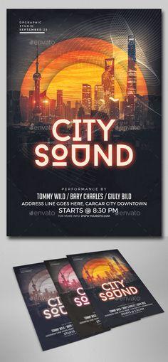 City Sound Flyer Template PSD