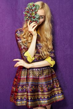 Vintage Floral Lapel Flare Dress