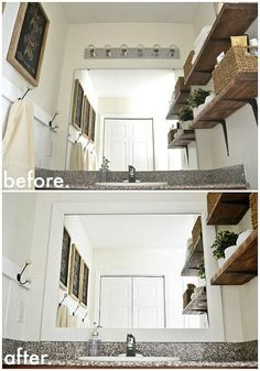 "Framing your bathroom mirror will make it ""sit"" nicely with the rest of your decor. 