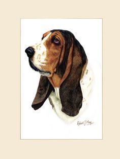 basset hound painting | original basset hound painting original basset hound head study ...