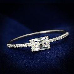 A Perfect .50CT Emerald Cut Russian Lab Diamond Engagement Ring - Joy of London Jewels