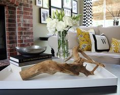 I love this tray arrangement. Especially fond of driftwood lately...must be on…