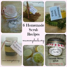 6 Homemade Scrubs - both salt and sugar with #FREE printable tags so you can make and gift them! FRom #mummydeals.org #recipes