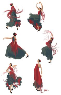 I love this beautiful simple dance illustration! Latin Dance, Dance Art, Figure Drawing, Painting & Drawing, Dancer Tattoo, Dance Paintings, Indian Paintings, Spanish Dancer, Jazz Dance Costumes