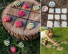 Tree stump ideas - I would paint really cool colors on rocks - great idea for young ones