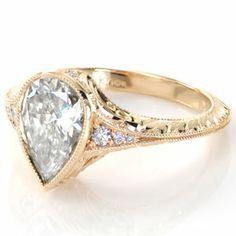 Design 2545 - Knox Jewelers - Minneapolis Minnesota - Hand Engraved Engagement Rings - Marseille, Hand Engraved, Filigree, Bonita, Pear - Large Image