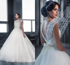 Backless Ball Gown Wedding Dresses 2016 Jewel Neck Floor Length Tulle Bridal Gowns Custom Made Sleeveless Cheap Wedding Gowns Online with $111.35/Piece on Hjklp88's Store