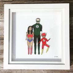 Don't mess with this #superherofamily #jobdone #superheroes #familyportrait #wonderwoman #greenlantern #flash #paperdolls #paperdollportrait #bespoke #personalised #uniquegifts #custommade #chunkydumplingpaperdolls