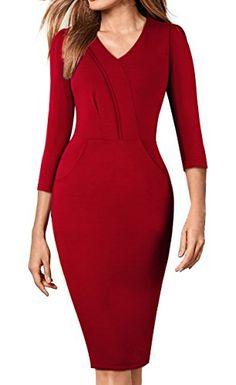 136b105880 New HOMEYEE Women s Elegant V-Neck Wear to Work Party Pencil Sheath Dress  B368 from