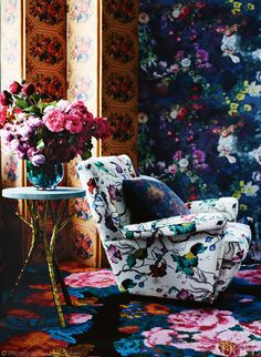 Layered botanical motifs blossom in Inspire, a brand new feature of the new look Vogue Living. #foliage
