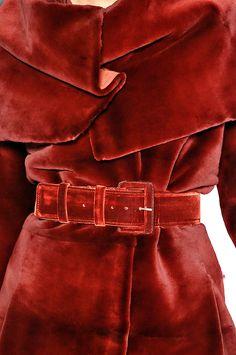Carolina Herrera > *Love* the belted red velvet coat! Look Fashion, Fashion Details, High Fashion, Winter Fashion, Fashion Guide, Fashion Themes, Red Fashion, Latest Fashion, Fashion Beauty