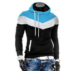 Generic Mens Hoodies Sweatshirt Oblique Zipper Warm Hooded Pullover