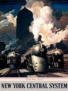 Poster by Leslie Ragan.- New York Central trains lined up to depart, Chicago Union Station