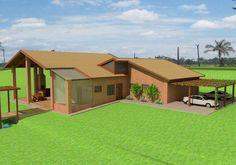 Projeto arquitetônico da Santos & Delgado, com tijolo ecológico, cisterna, fossa biodigestora em Pirtatininga,SP