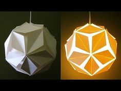 DIY lamp/lantern (5 petals) - learn how to make a paper pendant light - EzyCraft - YouTube