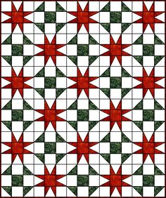 Eight Pointed Star Quilt - okay, this is a fun combo!