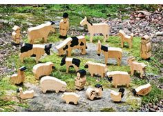 These beautiful farm animals are made from sustainable rubber wood. Farm Set in Natural Wood 22 pieces