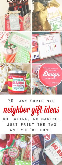 Don't stress over what to give the neighbors for Christmas this year - just pick one of these cheap, easy, and quick neighbor gift ideas that people will actually appreciate. Free printable tags included for each gift idea. Would be great for teachers, coworkers, and kids' friends, too!