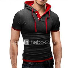 Men'S T Shirt 2018 And leisure Hooded Sling Short-Sleeved Tees Male Camisa Masculina Slim Homme large size Tee Shirt Homme, Sweat Shirt, Hoodie Sweatshirts, Sweatshirts Online, Casual T Shirts, Men Casual, Formal Casual, Stylish Men, Tank Top Herren